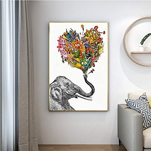 YuanMinglu Elefantenblumenbild für Hauptleinwandwandkunst für Wohnzimmerdekorationsplakate und -drucke rahmenloses Gemälde 40x50cm