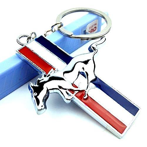 Tehui Mustang Porte-clés Logo Tricolore Voiture modifiée Voiture Boucle personnalisée Anneau clé décorative (Color : Beige)