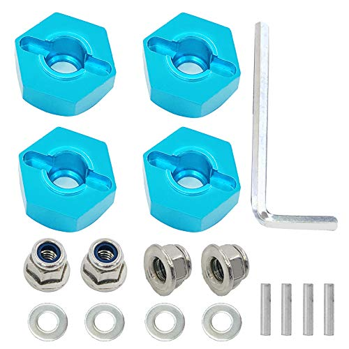 4PCS 12mm hex hubs Wheel adapters 7mm Thickness &4PCS M4 Lock Nuts& M4 Flat Washer &4PCS Pins& M4 Hex Wrench for Traxxas HPI Himoto HSP Losi Kyosho RC 1/10 On-Road Car Buggy Truck Tyre Tires