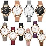 Yunanwa 10 Pack Wholesale Women's Watches Classic Business Rose Stainless Steel Rhinestone Inlaid WristWatches Geneva relogio Feminino (6pcs Leather 4pcs mesh Brand)