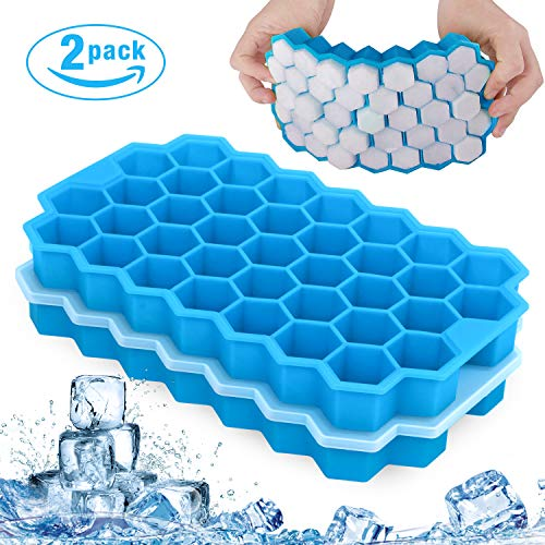 QcoQce Eiswürfelform Silikon, 2 Packs Eiswürfelschale Silikonform mit Deckel 74 Fach Eisform Ice Cube Tray Eisformen BPA Frei Eiswürfel Form für Family, Party und Bars (Blau)