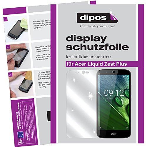dipos I 2X Schutzfolie klar kompatibel mit Acer Liquid Zest Plus Folie Bildschirmschutzfolie