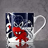 Tazza-Spiderman,Tazza In Ceramica,Tazza Di Caffè-Marvel Spiderman,300ml/10.6Oz Con Coperchio E Cucchiaino,Adatto Per L'Uso A Casa O In Ufficio E Può Essere Regalato Anche A Bambini O Amici