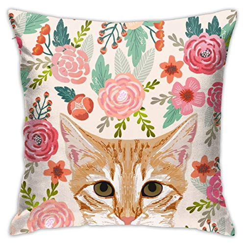 Yaateeh Spring Floral Cute Tabby Cat Lady Throw Pillow Covers Decorative 18x18 Inch Pillowcase Square Cushion Cases for Home Sofa Bedroom Livingroom