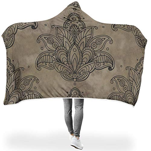 Dofeely Lotus PersonalityWearable Tapisserie Hooded Throw Wrap Lotus Hypoallergen Decke Winter Computer Werfen Decken Für Erwachsene Und Kinder White 150x200cm