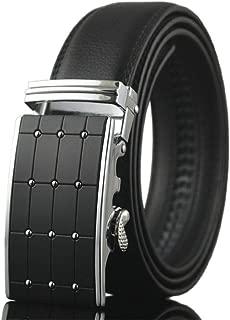 Men's Belt 100% Leather Belt Ratchet Automatic Adjustable Buckle Black