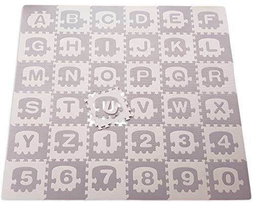 ABC/123 Mini Zug, Grau/Beige Schaumstoff Puzzle Spiel matt. 122TLG. Abnehmbare Züge, Alphabet und Zahlen. Inkl. Kanten und Tasche. Gesamtgröße Spielmatte 180x180cm (ABC/123 Minizug, Grau/Beige)