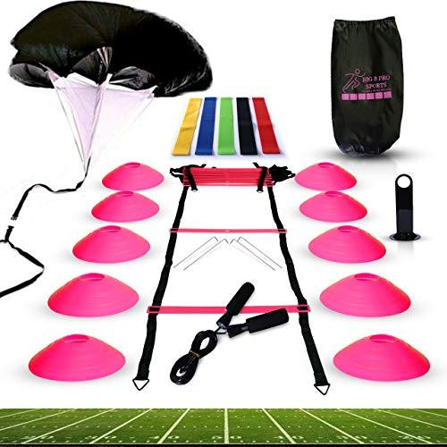 Big B Pro Sports Speed Agility Trainingsset – inklusive Leiter, 10 Kegel mit Halterung, Lauffallschirm, Springseil, Widerstandsbänder – für Training Fußball, Fußball und Basketball-Sportler (Pink)