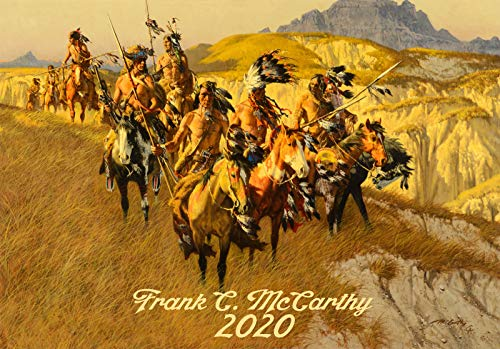 Calendario de pared 2020 [12 páginas 8 x 11 pulgadas] Wild West Indians Pioneers Vintage Illustration por Frank McCarthy Western