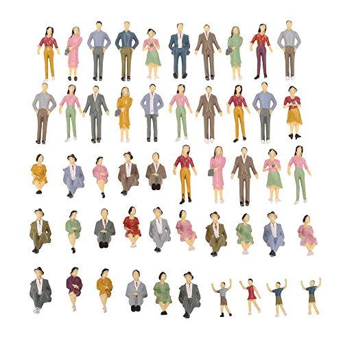 Goolsky 50Pcs 1:30 Escala pintada modelo personas tren pasajeros figuras