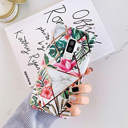 Ysimee Hülle Kompatibel mit Samsung Galaxy S9 Plus - Glänzend Cover Stoßfest Handyhülle, Marble Case Dünn Weich Rückschale aus Handyhülle Schutz Case Cover, Marmor - Rot Blume