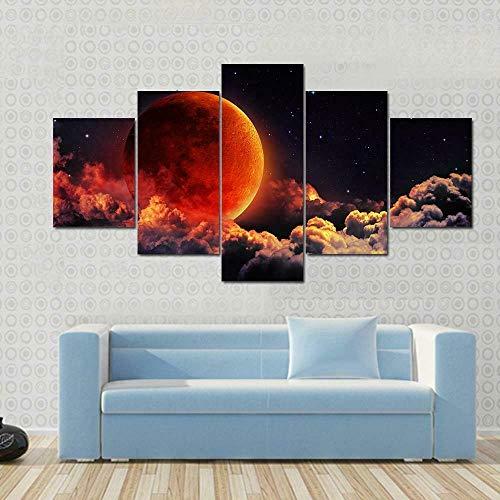GSDFSD Cuadros Decoracion Dormitorios 5 Piezas 150x80cm - Cuadro sobre Lienzo - Impresión En Lienzo Montado sobre Marco De Madera - Eclipse de Luna de Sangre roja