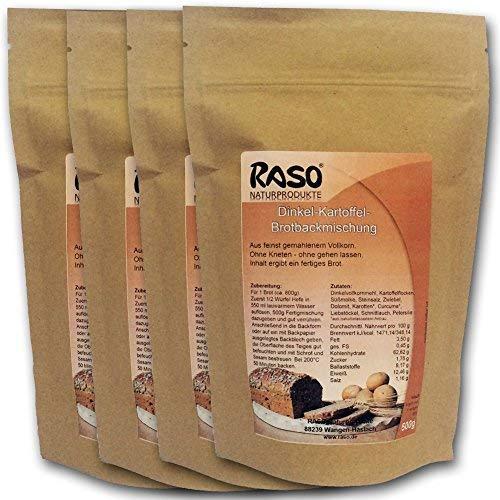 Brot mit Kurkuma - VERSANDKOSTENFREI - bewährte RASO Naturprodukte DAS ORIGINAL Rezeptur Brotbackmischung Dinkel - Kartoffel - Ohne Kneten, ohne gehen lassen 4 x 500g