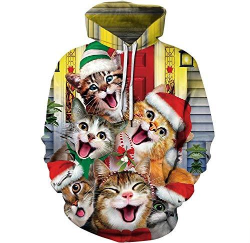 3D Creative Cute Christmas Cat Head Animal Print Sudadera con Capucha Ligera,Sudadera con Capucha De Manga...