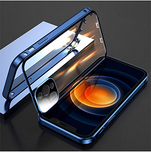 Hot Double-Sided Buckle Case for iPhone   360 Magnetic Adsorption Metal Case, Touch Sensitive Anti-Scratch 360° Full Body Protection Cover Case Drop Protection Case (Blue, For iPhone 12promax)