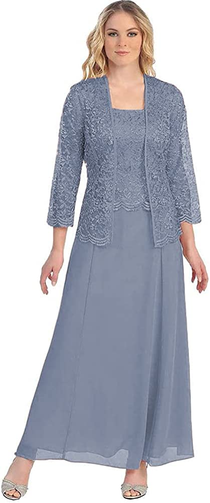 TRHTX 2 Piece Mother of Bride Dresses with 3/4 Sleeve Lace Jacket Long Chiffon Evening Formal Gowns for Women 2021