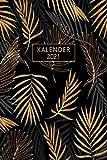 Kalender 2021: Din A5 I Terminplaner 2021 I Taschenkalender 2021 I 1 Woche auf 2 Seiten I Extra Platz zum Planen, Organisieren und Notieren! I Edles Geschenk I Edition Art: Palmblatt Gold
