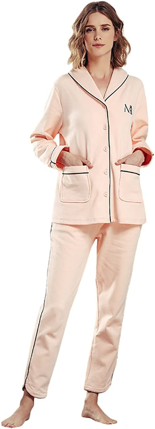 Women 's Pajamas Pure Cotton Cardigan Long  Sleeved Simple Home Clothing Set ( color   Pink , Size   L )
