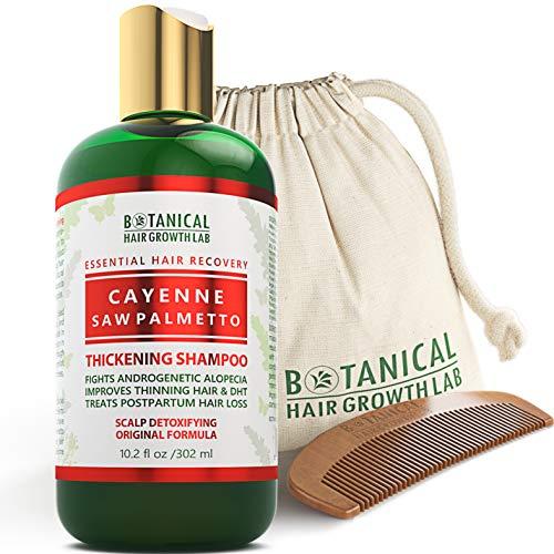 BOTANICAL HAIR GROWTH LAB - Hair Thickening Shampoo - Cayenne Saw Palmetto - Essential Hair Recovery - Scalp Detoxifying / Original - For Hair Loss Prevention Alopecia Postpartum DHT Blocker - 10.2 Oz