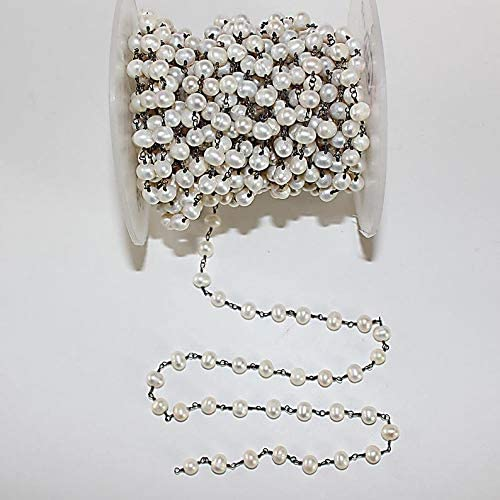 10Feet HOT Silver Grey Pearl Glass Round Beads Rosary Chains,6mm Smooth Pearl Wire Wrapped Bronze Plating Chains Findings