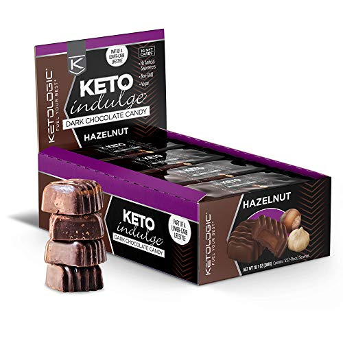 KetoLogic Keto Indulge Sugar Free Chocolate: Keto Chocolate Candy - Low Carb, Dark Chocolate with No Artificial Sweeteners & No Added Sugar - All Natural, Non GMO, Keto Sweets - Hazelnut (12 Serve) by KetoLogic