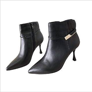 últimos estilos JINGJING Otoo e invierno botas cortas de tacón tacón tacón alto damas de cuero de moda botas femeninas puntiagudas botas de tacón de aguja mujer desnuda  ¡envío gratis!