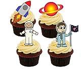 Made4You Decoración Comestible para Tartas con diseño de astronautas y Cohetes de Spaceman, Multicolor, Impreso Comestible, Pack de 24