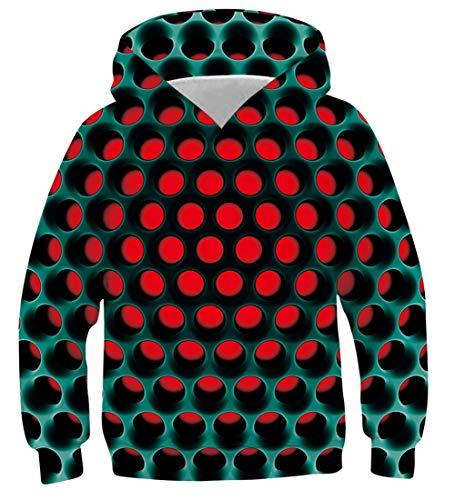 uideazone Jungen Mädchen Kapuzenpullover 3D Druck Teenager Hoodies Kinder Langarm Pullover Sweatshirts Kapuzenjacke mit Taschen 6-16 Years, Coole, 13-16 Jahre