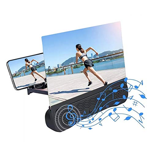 ZTGHS 12 Inch Mobile Phone 3D Screen Video Magnifier Curved Enlarged HD Movie Amplifying Projector Folding Stand Bracket with Speaker