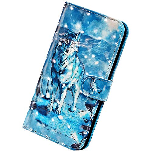 Herbests Kompatibel mit iPhone 12 Pro Max Handyhülle Hülle Flip Case Glänzend Glitzer Bling 3D Muster Leder Schutzhülle Klappbar Bookstyle Brieftasche Ledertasche mit Magnet,Wolf
