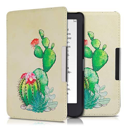 kwmobile Hülle kompatibel mit Tolino Shine 3 - Kunstleder eReader Schutzhülle - Kaktus Blüte Grün Pink Sand