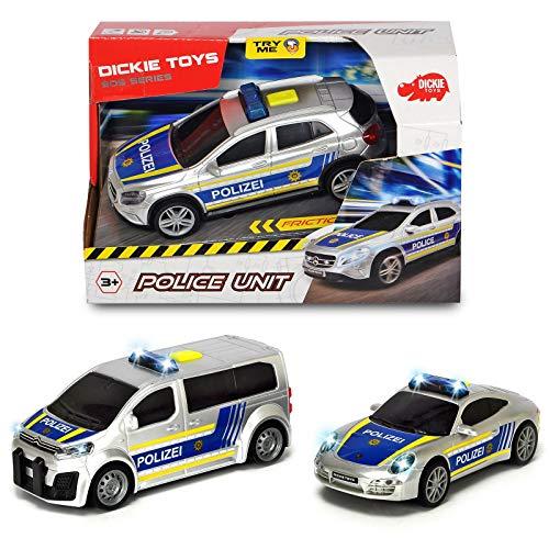 Spielzeug Polizeiauto Spielauto mit Blaulicht und Sirene ab 3 Jahren Spielauto Friktion Freilauf Polizei Auto Kinder Jungen Batterien Kinderspielzeug Kleinkind Einsatzfahrzeug Porsche Citroen Mercedes