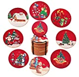 Natural Christmas Cork Coasters with Round Edge | 4' Diameter 16pcs Wooden Coaster Set with Metal Holder, Absorbent Heat-Resistant Reusable Saucers for Cold Drinks Wine Glasses Plants Cups & Mugs