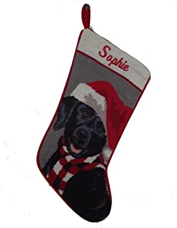 black dog needlepoint stocking