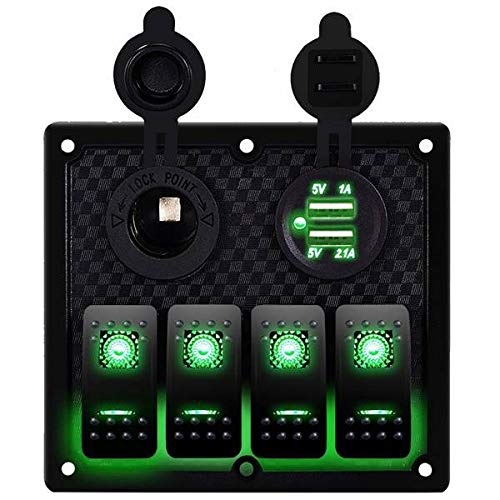 XXYHYQHJD 12V-24V 4 cuadrilla del Coche del Barco RV Circuito LED Toggle Interruptor oscilante del Panel del voltímetro del Interruptor con fusibles Doble del USB (Color : Verde, Size : Gratis)