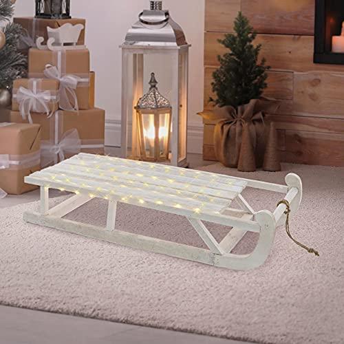 ECD Germany Slitta Decorativa di Natale in Legno Bianco 73 x 13,5 x 27,5 cm con Illuminazione Luci a LED Bianco Caldo Decorazione Natalizia per Interni Arredo Casa Ornamento Feste Addobbo Regalo