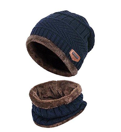 Kinder Winter warme Mütze mit Schal Strickmütze weich gefüttert.YR.Lover Blau Einheitsgrösse