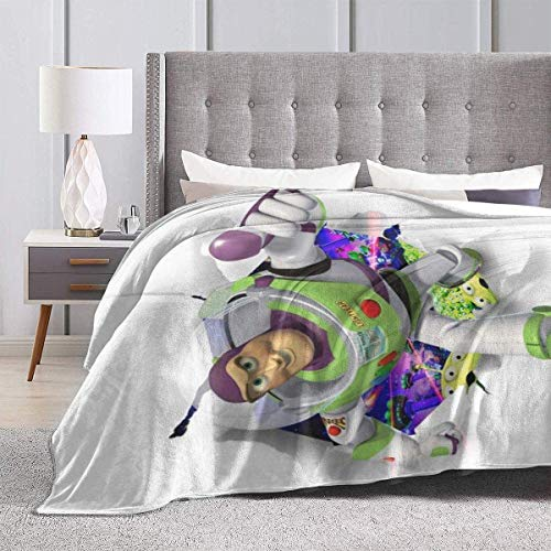 Engshi Mantas para Cama Toy Story Buzz Lightyear Throw Blankets Microfiber Bedspreads Fleece Blankets Throw Ultra Soft Coral Bedcover for Bedroom Living Room Sofa Couch