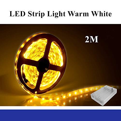 LED Strip warmweiss,Sunboia LED Streifen batteriebetrieben Weiß 2M SMD5050 IP65 Wasserdicht LED Bänder Freien Seil-Licht Dekorative Beleuchtung für Küche Schlafzimmer Schrank Spiegel Weihnachten