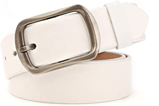 Women's Belt Leather Belt Casual Cowboy Cowhide Leather Back Belt (Color : White, Size : 105cm)