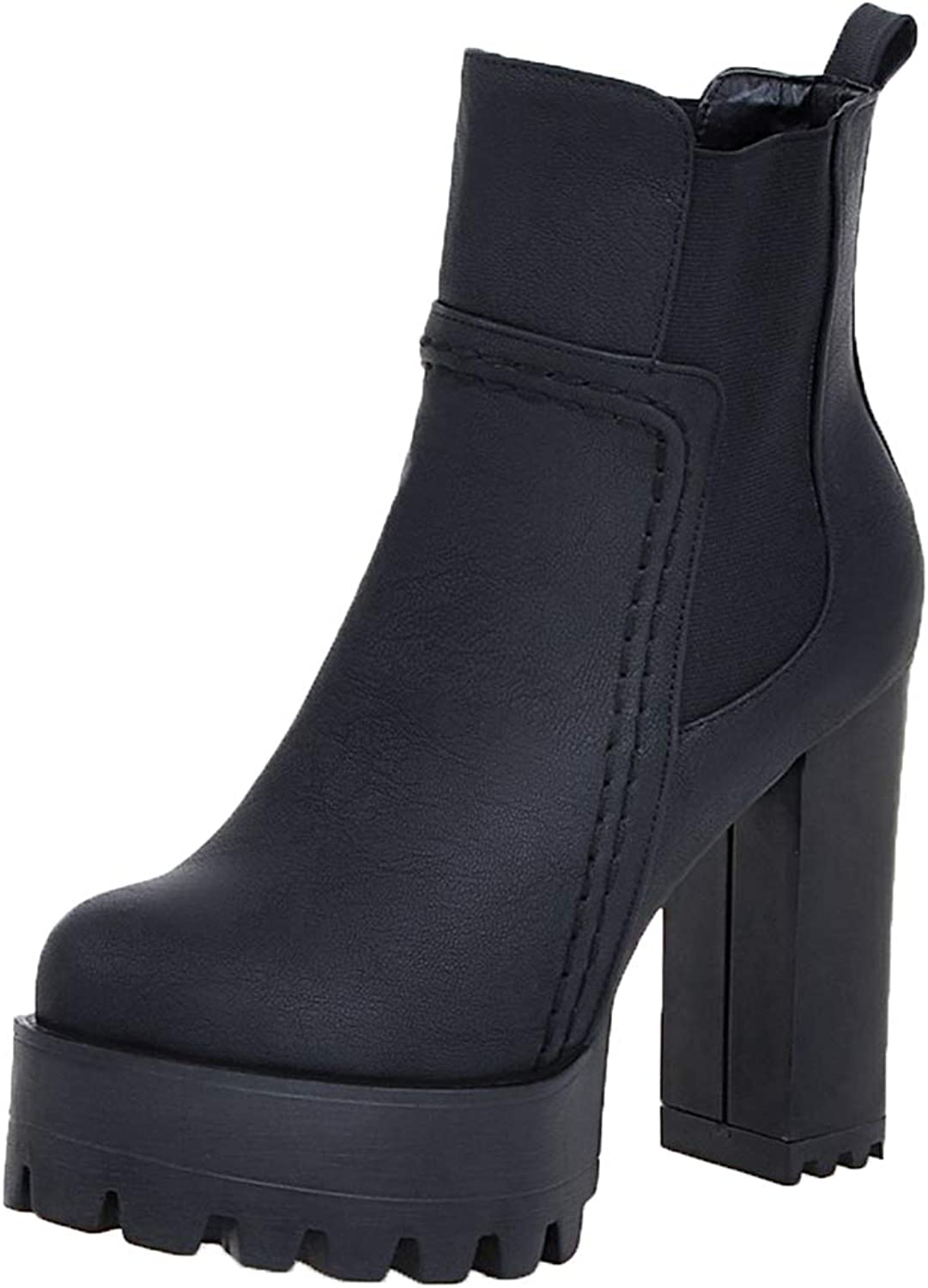 Vitalo Womens Chunky High Heel Platform Chelsea Ankle Boots Pull On Booties