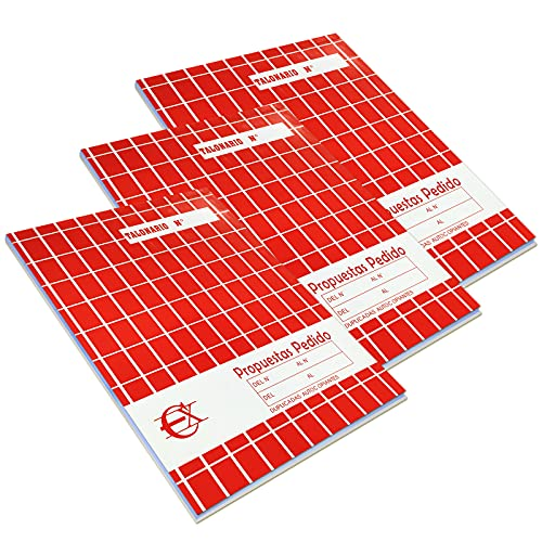 EUROXANTY Talonario Propuestas pedido | Documentos de venta | Para comercios y empresas | Hojas con Precorte | Original y copia | 40 hojas por talonario | 20,5 x 14,5 cm | Pack 3