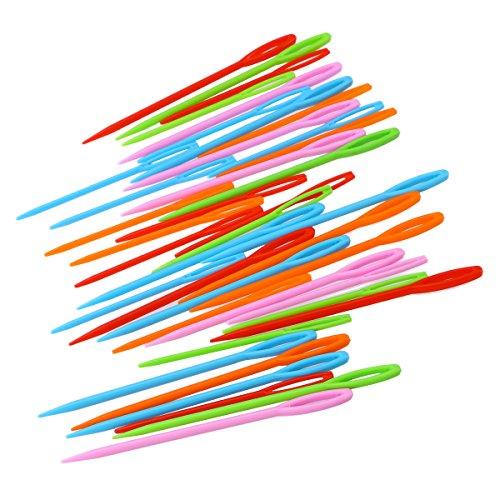 ULTNICE 40pcs großes Augen Plastiknähnadel spinnende Werkzeuge für Kinder mischte Farbe