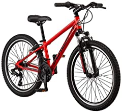 "Schwinn aluminum mountain frame with Schwinn suspension fork offer controlled riding. 24-inch wheels fit riders ages 8 and up, or 4'8"" to 5'6"" in height. 21 speeds with Shimano Revo shifters and Shimano rear derailleur provide quick gear changes. All..."