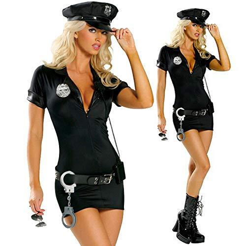 XXYsm Damen Polizistin Uniform Kostüm Frauen Nachtclub Kleid mit Handschellen Gürtel Hut Cosplay Kostüm Karneval Halloween Fasching Party (Schwarz, S)