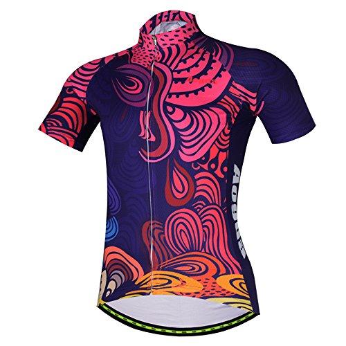 Aogda USA Radtrikot Kurzarm Herren Fahrrad-Shirts Fahrrad Kleidung Lycra Manschetten Reflektierende Streifen D196 (Shirt, 2XL)