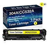 1-Pack 304A | CC532A (1yellow) Remanufactured Toner Cartridge Replacement for HP Color Laserjet CP2025,CP2025n,CP2025dn,CP2025x,CM2320n MFP,CM2320fxi MFP,CM2320nf MFP Printers, by CuToner.