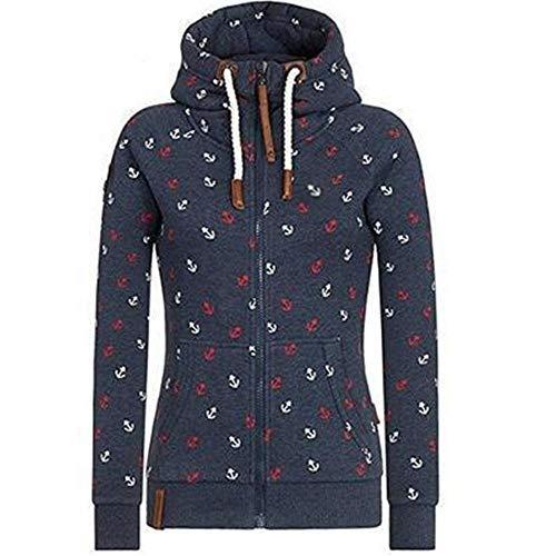 Newbestyle Jacke Damen Sweatjacke Hoodie Sweatshirt Oberteile Damen Pullover Kapuzenpullover Pulli mit Reissverschluss (Dunkelblau, XXL)