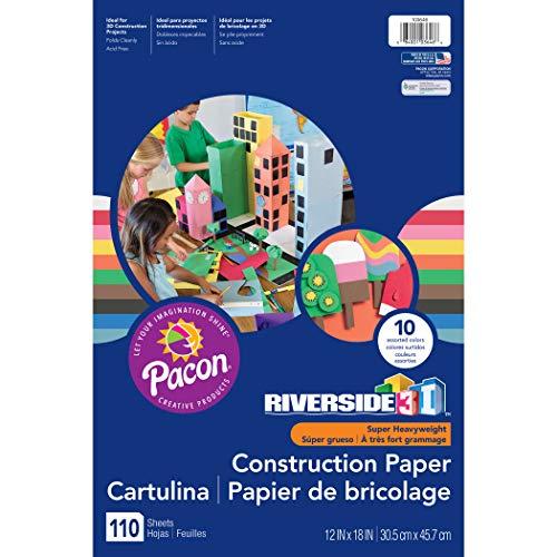 Riverside 3D Construction Paper, 10 Assorted Colors, 12' x 18', 110 Sheets