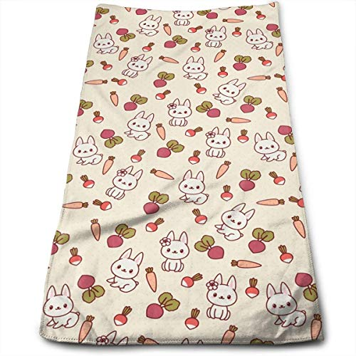 wteqofy Rabbit Vegetables Bath Hand Towels Dish Cloth Machine Washable Kitchen Towels Tea Towels for Drying Cleaning Cooking Baking